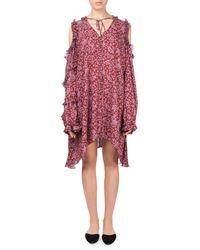 Magda Butrym - Zagreb Floral-print Open-shoulder Silk Dress W/ Ruffled Trim - Lyst