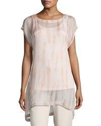 Eileen Fisher - Cap-sleeve Sheer Silk Shibori Tunic - Lyst
