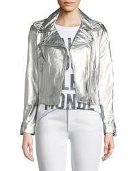 Lamarque - Donna Metallic Leather Biker Jacket - Lyst