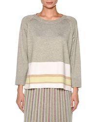 Agnona - Cotton-silk 3/4 Sleeve Tunic With Stripe Hem - Lyst