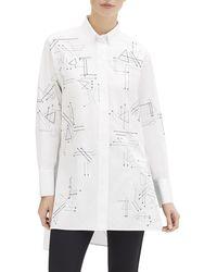 Lafayette 148 New York - Kehlani Geometric Button-down Utility Cotton Blouse - Lyst