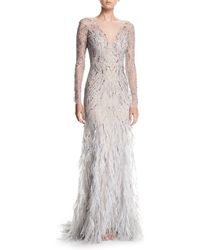 Monique Lhuillier - Embellished Long-sleeve Illusion Evening Gown W/ Feather Skirt - Lyst