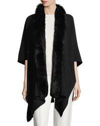 Sofia Cashmere - Cashmere-blend Sequin Ruana Wrap W/ Fur Trim - Lyst