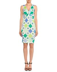 Emilio Pucci - Twist-front Sleeveless 1960's Wallpaper-print Sheath Dress - Lyst