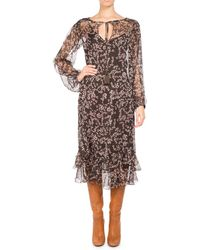 Pascal Millet - Floral-print Chiffon Long-sleeve Midi Dress - Lyst