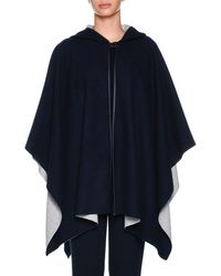 Agnona | Cashmere-knit Hooded Cashmere Cape With Leather Trim | Lyst