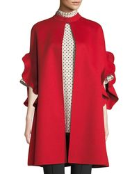 Valentino - Ruffle Sleeve Compact Wool & Cashmere Cape - Lyst