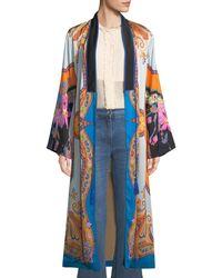 Etro - Tie-front Scarf-print Long-sleeve Long Kimono - Lyst