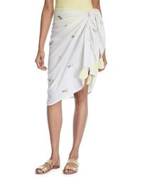 Letarte - Pineapple-embroidered Cotton Sarong - Lyst