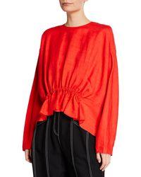 Derek Lam - Long Sleeve Linen Blouse With Gathered Waist Detail - Lyst