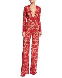 Naeem Khan - Long-sleeve Plunging Lace Jumpsuit - Lyst