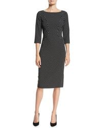 Michael Kors - Boat-neck 3/4-sleeve Polka-dot Stretch-cady Sheath Dress - Lyst