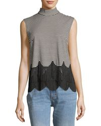 Marc Jacobs - Mock-neck Sleeveless Striped Top With Fringe - Lyst