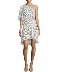 A.L.C. - Misha One-shoulder Ruched Floral-print Silk Dress - Lyst