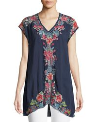 Johnny Was - Pari Long Embroidered V-neck Tunic - Lyst