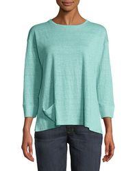 Eileen Fisher - Jewel-neck 3/4-sleeve Organic Linen Jersey Tee W/ Front Pocket - Lyst