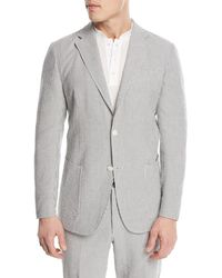 Ermenegildo Zegna - Striped Seersucker Two-button Blazer - Lyst