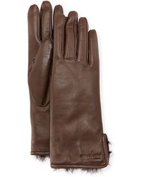 Ferragamo - Fur-lined Leather Gloves - Lyst