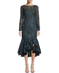 3bc6a044d3c5b David Meister - Long-sleeve Metallic Embroidered Ruffle-hem Dress - Lyst
