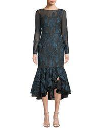 David Meister - Long-sleeve Metallic Embroidered Ruffle-hem Dress - Lyst