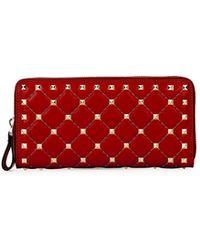 Valentino | Rockstud Quilted Zip-around Wallet | Lyst