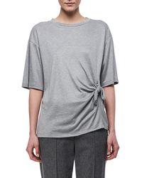 Victoria, Victoria Beckham - Knotted-side Cotton T-shirt - Lyst