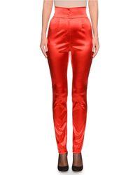 Dolce & Gabbana - High-waist Straight-leg Stretch-satin Pants - Lyst