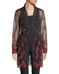 Elie Tahari - Nicolette Embroidered Sheer Zip-front Coat - Lyst