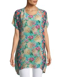 Tolani - Tiffany Short-sleeve Long Silk Floral Tunic - Lyst