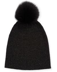 Sofia Cashmere - Metallic Knit Fur-pom Beanie Hat - Lyst