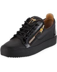 Giuseppe Zanotti - Men's London Double-zip Leather Low-top Sneakers - Lyst