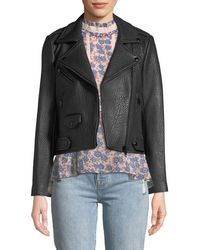 Rebecca Minkoff - Wes Zip-front Pebbled Leather Moto Jacket - Lyst
