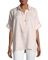 Go> By Go Silk - Oversized Short-sleeve Linen Tunic Plus Size - Lyst