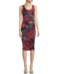 Fuzzi - Jungle-print Ruched Sleeveless Dress - Lyst