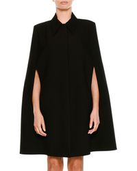 Stella McCartney - Wool Coat Cape With Volcano Embroidered Back - Lyst