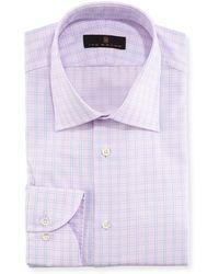 Ike Behar - Windowpane Cotton Dress Shirt - Lyst