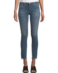 AG Jeans - The Legging Super Skinny Ankle Jeans W/ Chewed Hem - Lyst