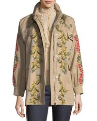 RED Valentino | Floral-vines Embroidered Cotton Jacket | Lyst