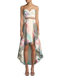 Parker Black - Jada Printed Strapless Bustier High-low Dress - Lyst