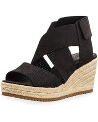 40a5a527f89b Lyst - Eileen Fisher Willow Perforated Nubuck Espadrille Sandal in Blue