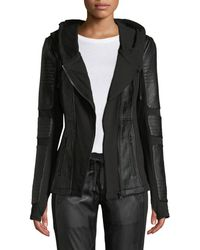 BLANC NOIR - Asymmetrical Hooded Terry Moto Jacket - Lyst