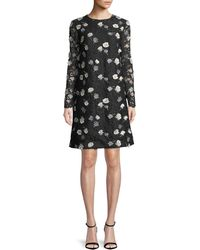 Lela Rose - Jewel-neck Long-sleeve Floral-embroidered Lace A-line Dress - Lyst