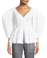Isa Arfen - Vera V-neck Full-sleeve Cotton Peplum Top - Lyst