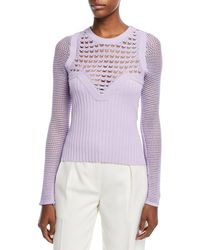 Narciso Rodriguez - Round-neck Textured Crochet Knit Top - Lyst
