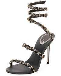 Rene Caovilla - Snake-coil Sandal With Crystal Detail - Lyst