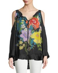 Johnny Was - Fusion Cold-shoulder Floral-print Blouse - Lyst