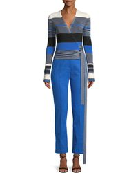 Diane von Furstenberg - Striped Cropped Wrap Sweater - Lyst