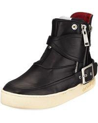 Haculla - Men's Philip Zip-buckle High-top Leather Sneakers - Lyst