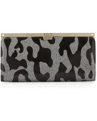 09604669aac0 Jimmy Choo - Camille Leopard Patent Glitter Clutch Bag - Lyst