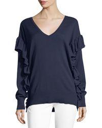 MICHAEL Michael Kors - Ruffled-trim Cotton Sweater - Lyst